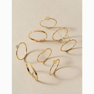 Dainty Gold Midi & Knuckle Geometric Rings Set